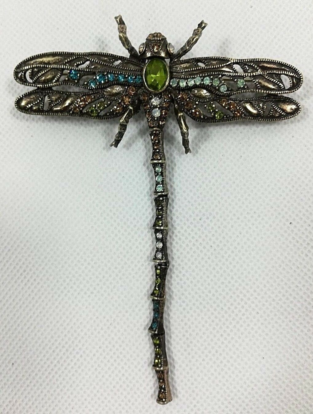 Primary image for Vintage Costume Jewelry Retro Dragonfly Multi Rhinestone Brooch Bronze Tone