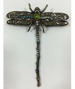 Vintage Costume Jewelry Retro Dragonfly Multi Rhinestone Brooch Bronze Tone - $35.00