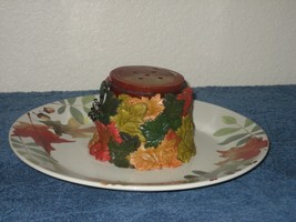 Autumn Leaves White Custom Candle Holder Stoneware Plate Red Candle - $13.98