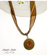 Button Drop Necklace: rust brown vintage button & silk ribbon, tan suede... - $14.00