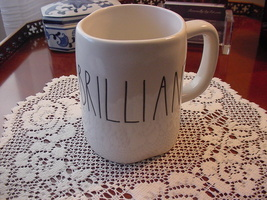 Rae Dunn BRILLIANT Rustic Mug, Ivory with Black Letters, New! - $11.00