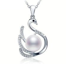 Swan Pendant 9.5-10mm Big White natural Pearl Pendant - $39.00
