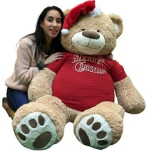 5 Foot Giant Xmas Teddy Bear Soft 60 Inch, Wears Merry Christmas Shirt S... - $97.11