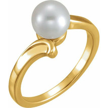 14K Yellow 7 mm Solitaire Ring for Pearl - $402.04