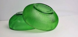 Vintage 2 E. O. Brody Co. Green Ribbed Glass Bowl Cleveland OH USA Candy Nuts  - $34.50