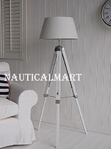 White wooden tripod floor Lamp - $187.11
