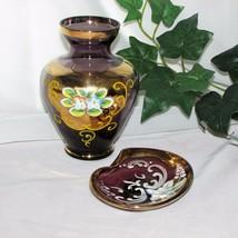 PURPLE ART GLASS VASE & SMALL DISH ASHTRAY AMETHYST HAND PAINTED FLOWERS... - $11.15