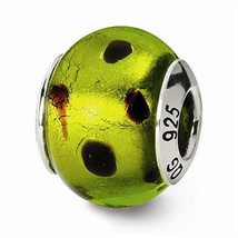 Sterling Silver s Green/black Italian Murano Bead by Reflection Beads - $25.26