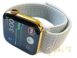 Custom 24K Gold Plated 44MM Apple Watch Series 5 With White Loop Band Gps+Lte - $1,139.05