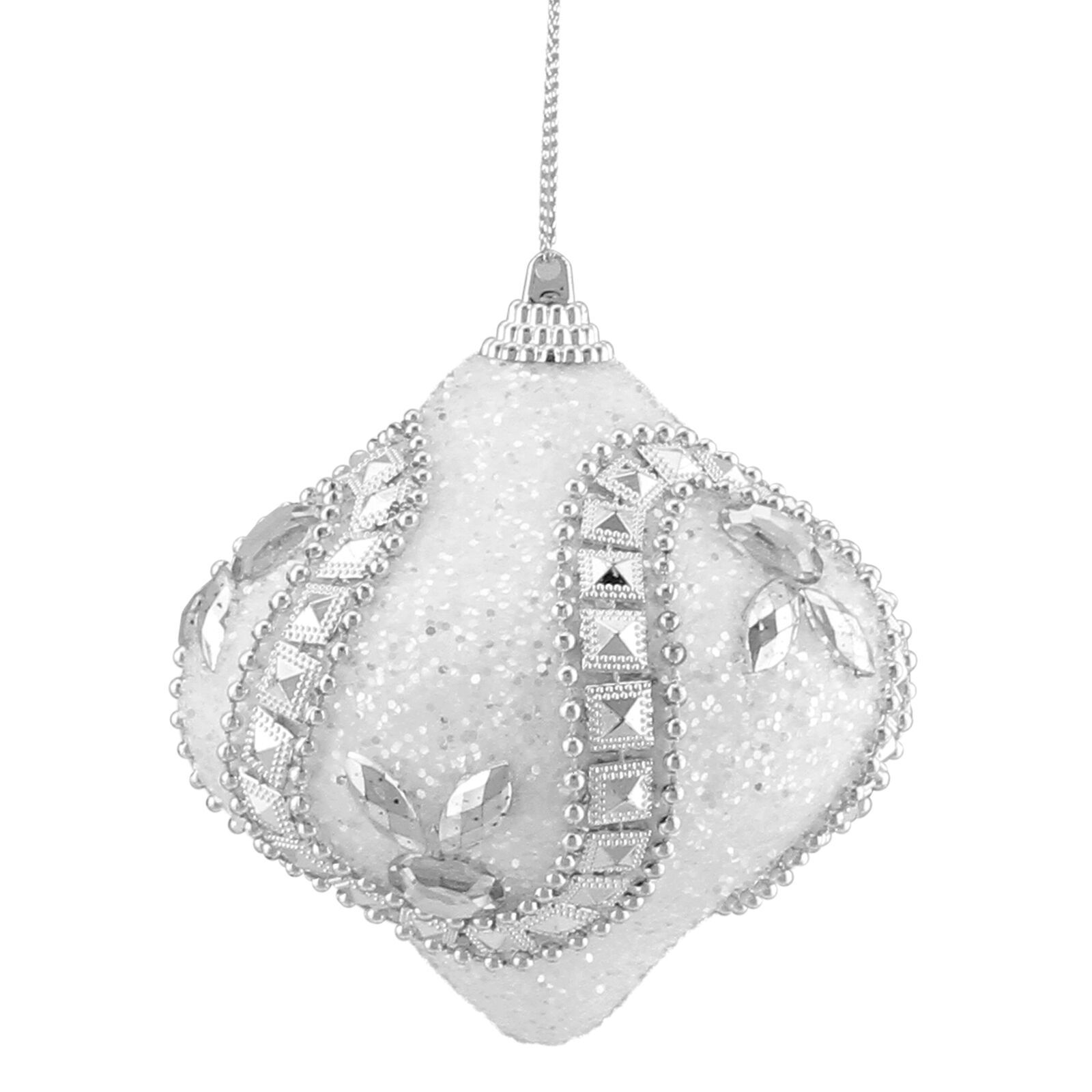"Primary image for 3ct White and Silver Rhinestone Glitter Onion Christmas Ornaments 3""  - tkcc"