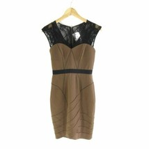 2 - Tracy Reese Anthropologie Brown Black Lace Trim BodyCon Wiggle Dress... - $38.00