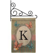 Butterflies K Initial Burlap - Impressions Decorative Metal Fansy Wall Bracket G - $33.97