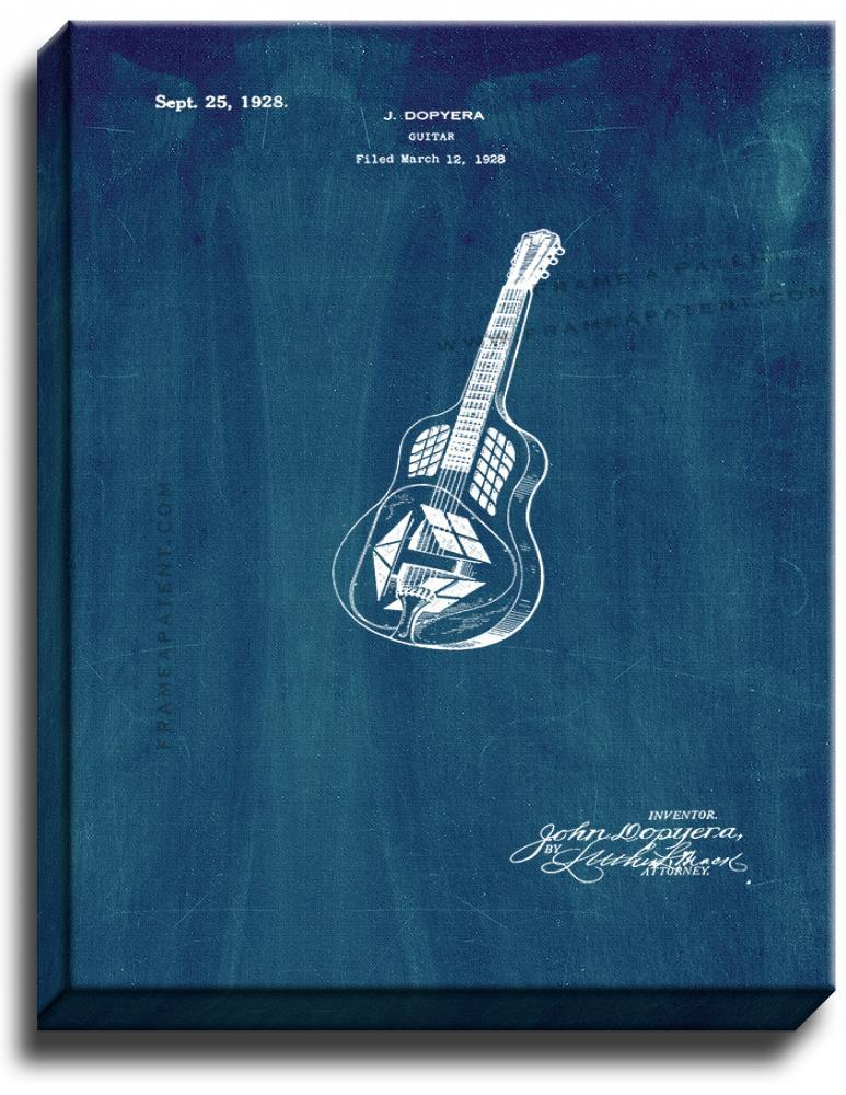 Primary image for Guitar Patent Print Midnight Blue on Canvas