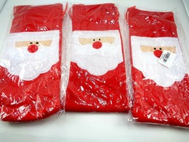 Lot of 3 Santa Claus Christmas Drawstring Red Wine Bottle Cover Bags Dec... - $11.87