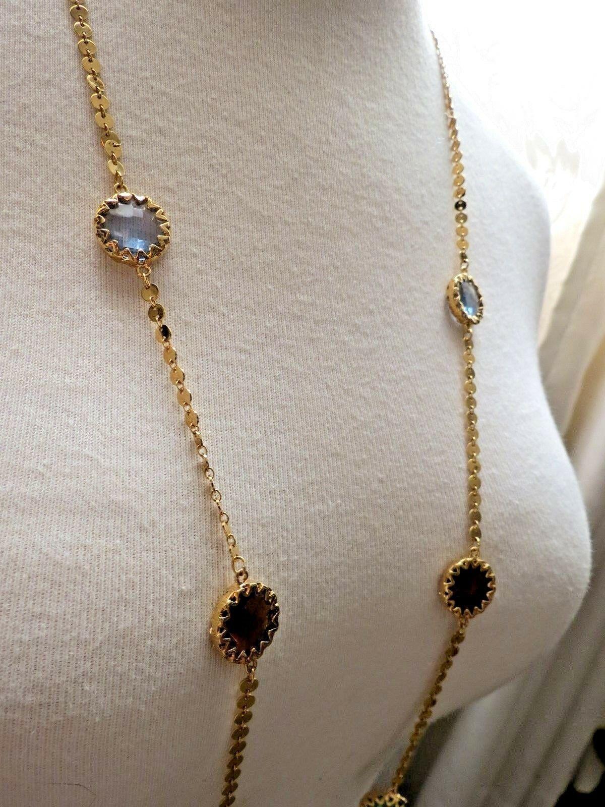 """Robert Verdi Bezel Set Crystal Necklace Gold Plated Links 46"""" Cushion Designer image 3"""