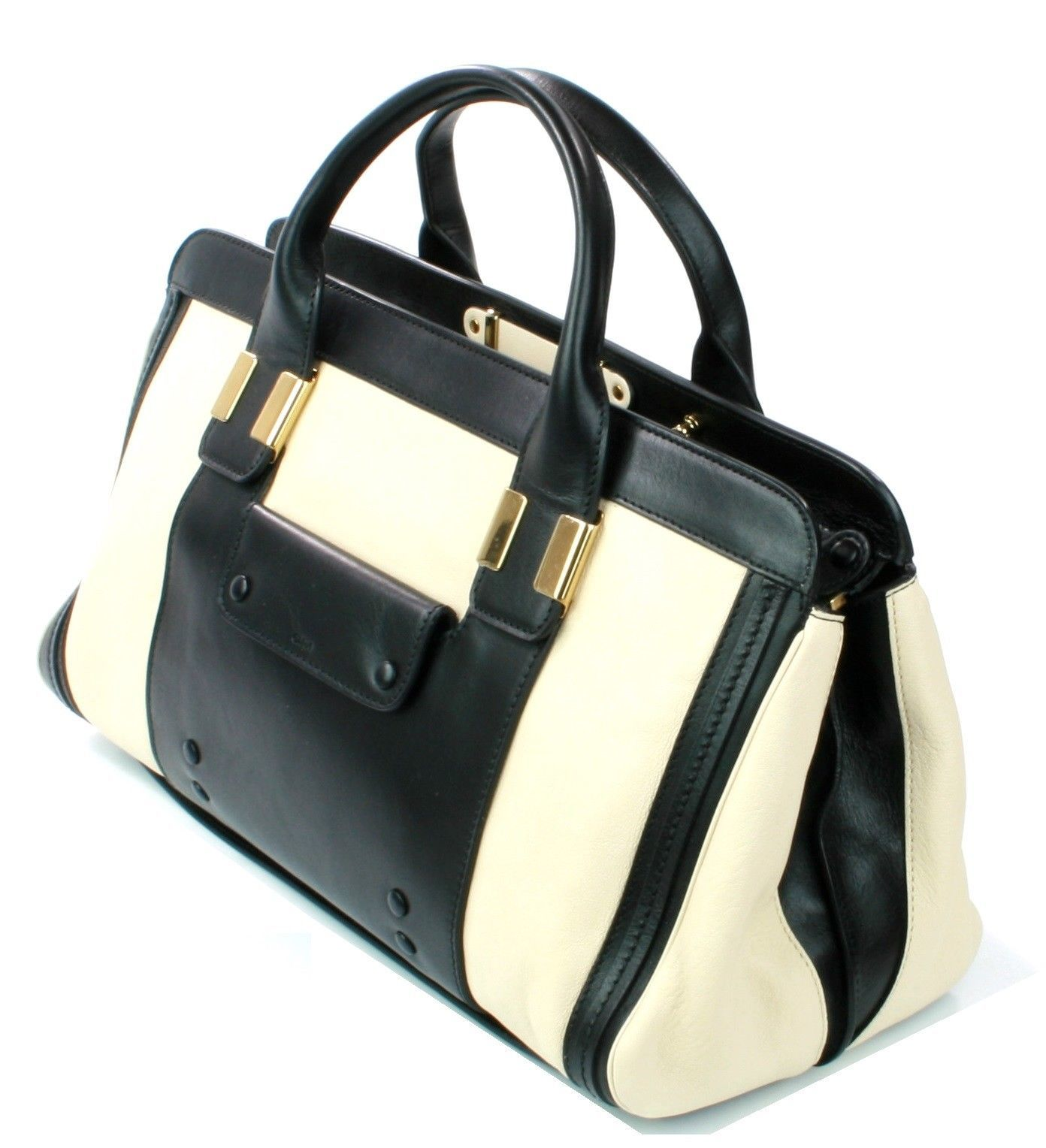 Chloe Alice Husky White Black Leather Tote Bag Medium Sized Handbag RRP £1,240