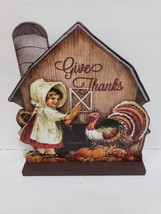 Vintage Style Thanksgiving Fall Child & Turkey Wood Sign Tabletop Decor - $18.04