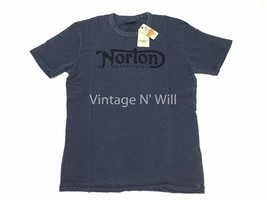 Lucky Brand Mens M Norton Motorcycle Hand-Painted Logo Navy Wash T-Shirt... - $29.69