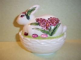 Mosser Glass Milk White Bunny Box Candy Dish By Fenton Artist Sunday Davis Ooak - $67.42