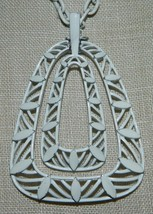 VTG 1950's CROWN TRIFARI White Enamel Triangle Abstract Choker Necklace - $39.60