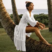 Women's Solid Tunic Style Button Down Long Lantern Sleeve Cotton Beach Dress