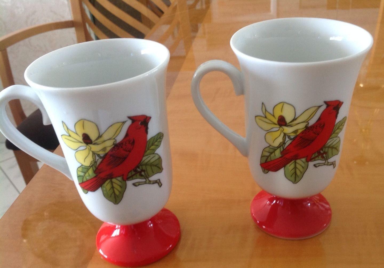 VTG Mid Century Modern Porcelain Bird Tall Cups Set of 8 Fred Robert's Co. 1960s