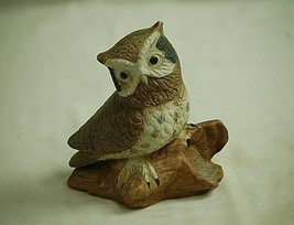 Vintage Bisque Speckled Owl on Log Bird Figurine Curio Cabinet Shelf Dec... - $19.79