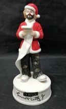 Emmett Kelly Jr. Clown Santa Claus Checking His List Music Box Flambro C... - $14.50