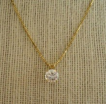 Vintage 14k Solid Yellow Gold Box Link Chain & CZ Pendant Necklace 4.2 G... - $158.59