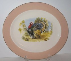Turkey Platter w/Peachy Tan Band, Gold Edge, Homer Laughlin Cavalier Egg... - $22.44
