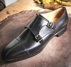 Handmade Men's Black Double Monk Strap Dress/Formal Leather Shoes image 3