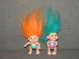 "Lot of 2 Trolls 3"" PVC Figures Poseable Arms Legs Applause 1991 - $10.00"
