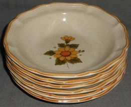 """Set (6) 1970s-80s Mikasa SUNNY SIDE PATTERN 7 1/4"""" Dessert Bowls MADE IN... - $79.19"""