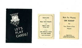 3 Vintage Playing Card Rules Booklets Cassino Gin Rummy Hearts Black Jac... - $21.75