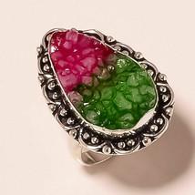 "Multi Titanium Druzy Gemstone Fashion Ethnic Jewelry Ring S-8.50"" UK-17 - $4.89"