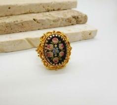 Vintage Pink Flower Black Petit Point Victorian Style Ring Adjustable Si... - $16.82