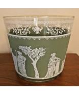 "Wedgwood Jasperware Glass Ice Bucket Vintage Jeannette  ""Hellenic"" Green - $19.99"
