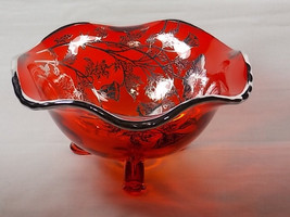 Viking Glass Persimmon Epic Footed Candy Bowl with Flanders Floral Sterl... - $69.00