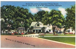 Georgia Postcard Thomasville Motor Court Motel Pecan Grove - $2.25