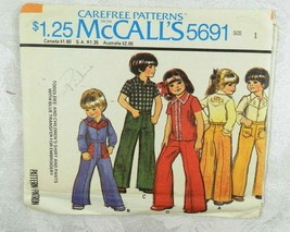 1977 McCall's Sewing Pattern 5691 Child's Pants & Western Shirt Size 1 T... - $11.87