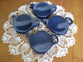 Set of Four (4) Teapot Shaped Tea Bag Holders - Dark Blue Melamine Plastic  - £7.78 GBP