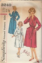 Vintage Sewing Pattern Simplicity 3240 Misses Robe Long or Knee Length Size 12 - $6.92