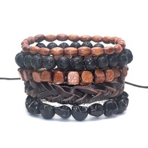 1 Set 4-5 pcs Black Out Bamboo wood, Lava Stone Beads Stone Skull and Pu... - $10.72