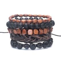 1 Set 4-5 pcs Black Out Bamboo wood, Lava Stone Beads Stone Skull and Pull-Closu - $10.72