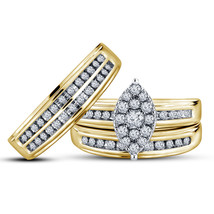 14k Yellow Gold Finish 925 Sterling Solid Silver His & Her Trio Diamond ... - $153.99