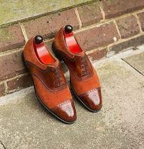 Men Maroon Orange Color Leather Handmade Oxford Rounded Cap Toe Stylish Shoes - $139.99+