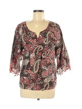 Prana Top M Medium Brown Print Embellished Shirt 3/4 Sleeve 100% Cotton ... - $12.38