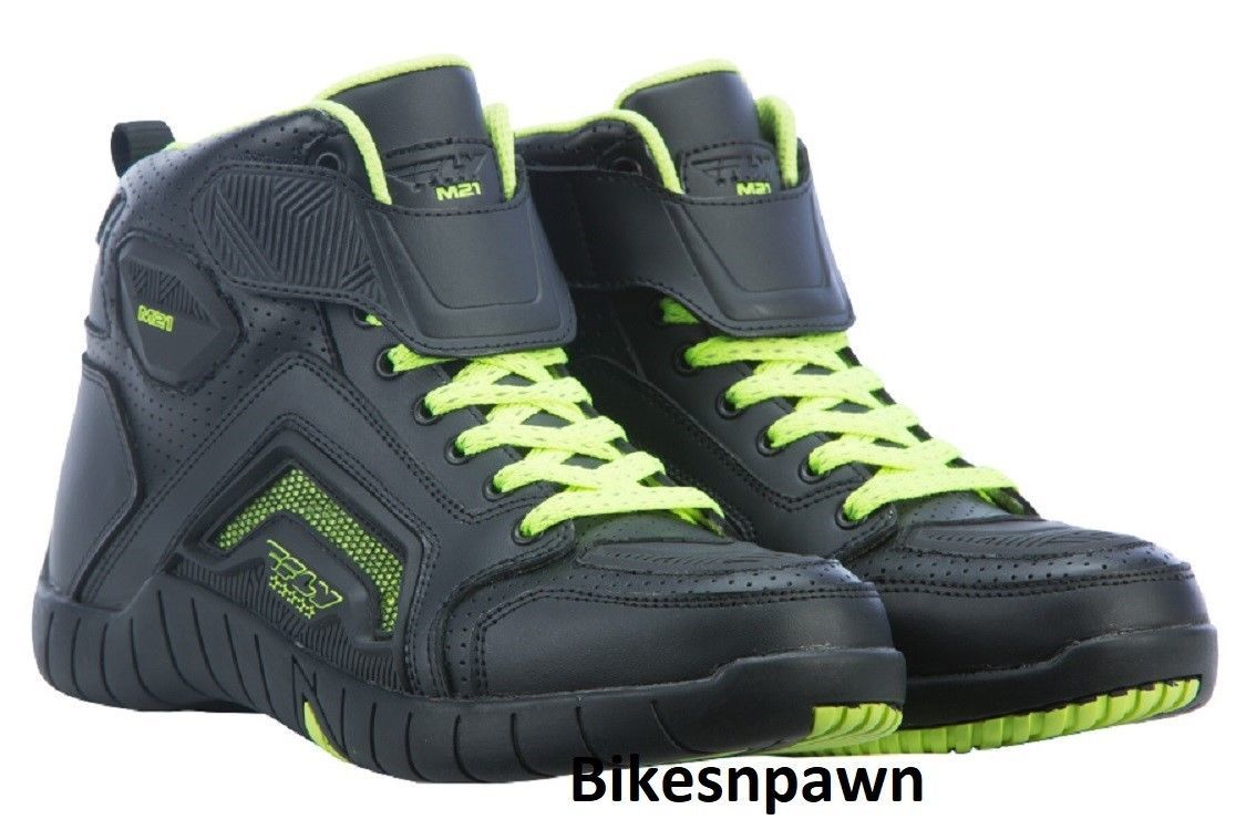 New Sz 10 Mens FLY Racing M21 Black/Hi-Vis Leather Motorcycle Street Riding Shoe