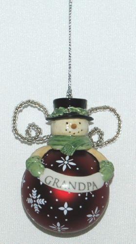 Grasslands Road 462548 Snowman Christmas Ornament Grandpa Color Red