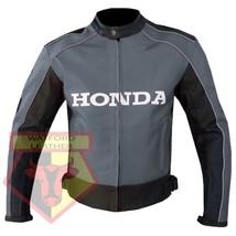 HONDA 5523 GREY MOTORCYCLE MOTORBIKE ARMOURED COWHIDE LEATHER JACKET FOR... - $194.99